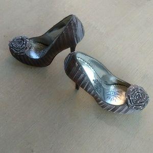 Naughty Monkey Gray/Silver Satin Platform Heels